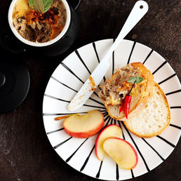 Schweins-Rillette mit Zimt-Chili-Apfelstückli