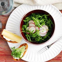 Rucola-Salat mit Kresse-Crostini