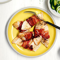 Speck-Fisch mit süsssauren Zucchetti