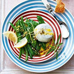 Bohnen-Kefen-Salat mit Kamille und Zitrone