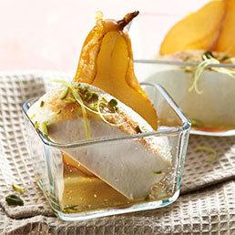 Zitronen-Ziger mit Caramel-Birnen