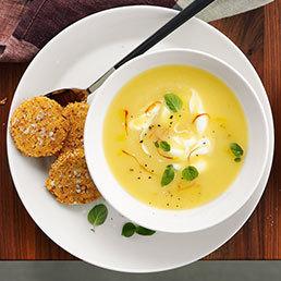 Soupe pommes de terre-safran, sablés au sésame