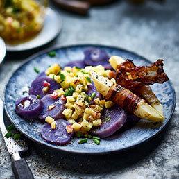 Salade de pommes de terre et vinaigrette aux pommes