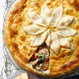 Schweinefleisch-Dörrfrucht-Pie