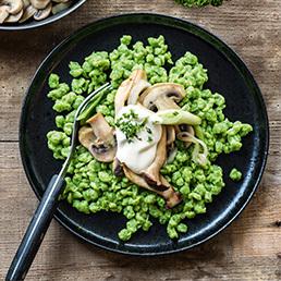 Spinat-Knöpfli  mit Pilzen