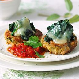 Veggie-Patties mit Spinathaube