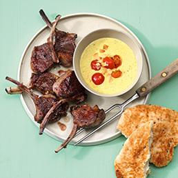 Lammkoteletts mit Mandel-Curry-Sauce