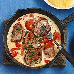Kalbsschnitzelchen mit Tomaten-Fenchel-Rahm