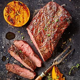 Steaks flat iron et sel à l'orange
