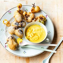 Frittierte Trauben mit Orangen-Safran-Jogurt