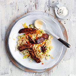 Gewürz-Gemüse-Reis mit Honig-Rindfleisch-Sticks
