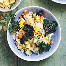 Kalette-Gemüse-Reis-Pfanne