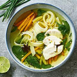 Hühner-Suppe mit Reisnudeln