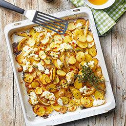 Ofen-Kartoffeln mit gebackenem Ricotta und Honig
