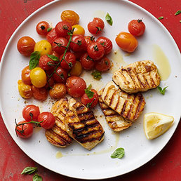 Gerösteter Tomatensalat mit Halloumi