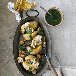 Baked Potatoes mit Pilzen und Mojo verde