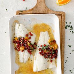 Gebackener Zander mit Orangen-Granatapfel-Salsa