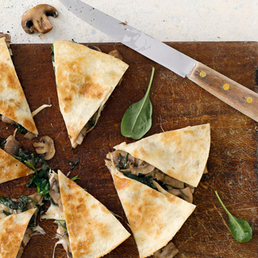 Pilz-Spinat­-Quesadillas