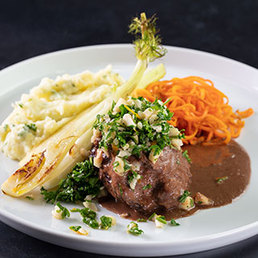 Meerrettich-Kartoffelstock mit Orangengremolata