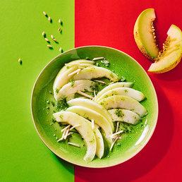 Carpaccio de melon  au citron vert et au gingembre