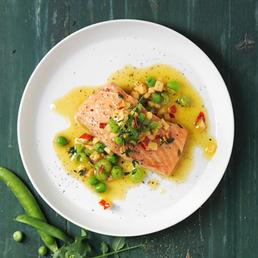 Saumon et vinaigrette aux petits pois