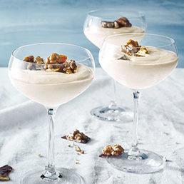 Crème au séré et  à l'expresso et  croquant aux noix