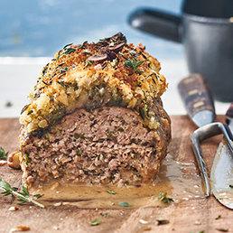 Pain de viande hachée  à la truffe en croûte de noisettes