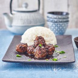 Boulettes de viande hachée aux graines de sésame et teriyaki