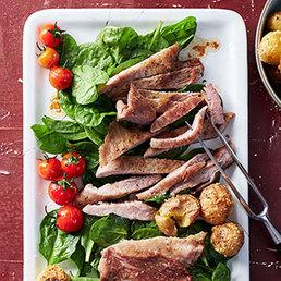 Secreto vom Schwein mit Bratkartoffeln mit Käsekruste