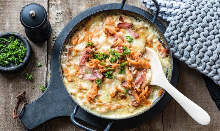 Tomaten-Spätzli  al forno mit  Vacherin Fribourgeois AOP