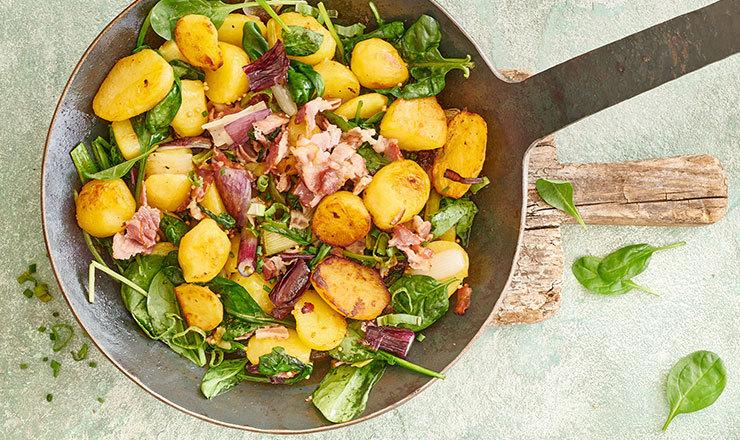 Kartoffel-Speck-Gröstl mit Spinat
