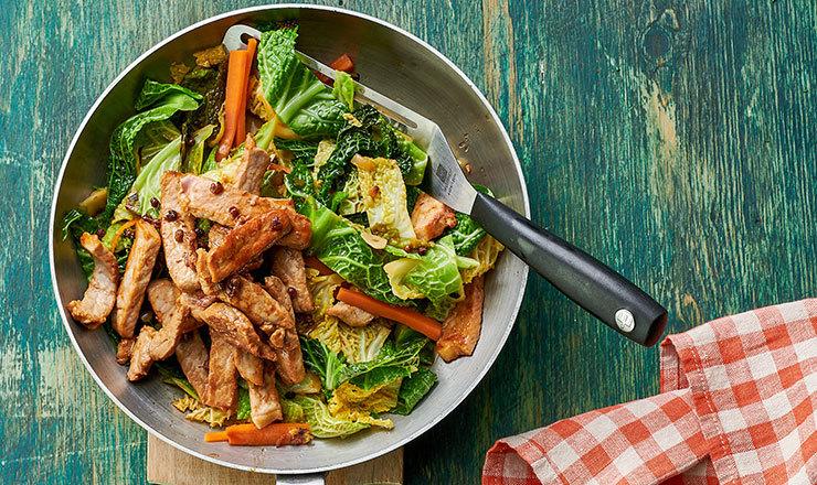 Poêlée de légumes d'hiver au porc