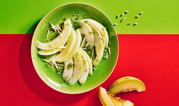 Melonencarpaccio mit Limette und Ingwer