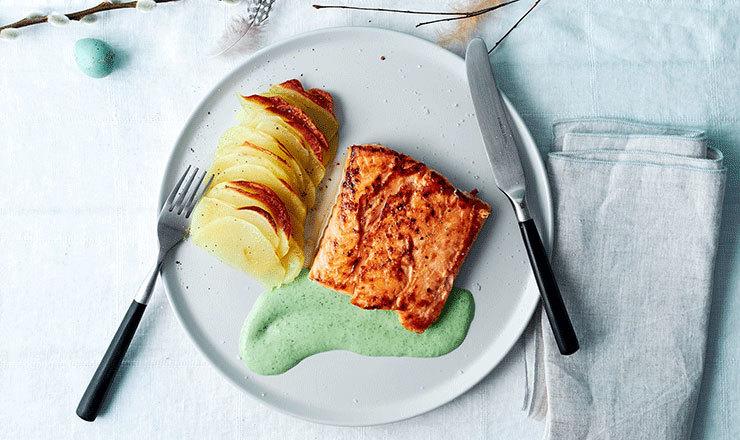 Lachs mit Sauerampfer-Sauce