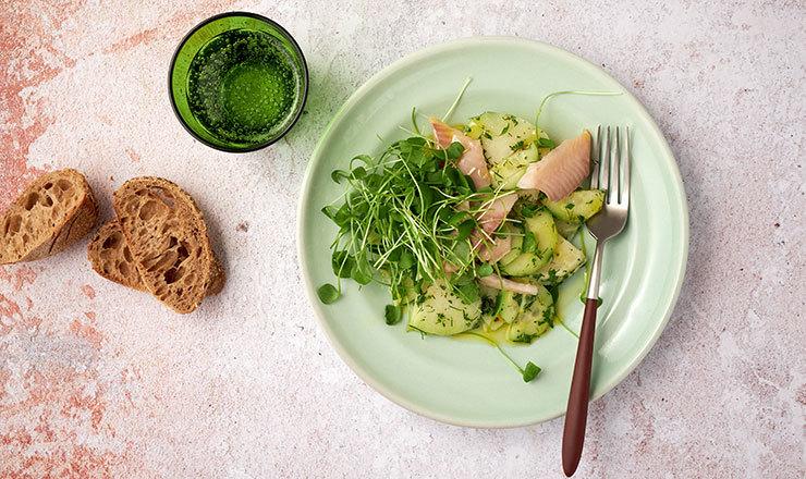 Gurken-Kohlrabi-Salat mit geräucherter Forelle