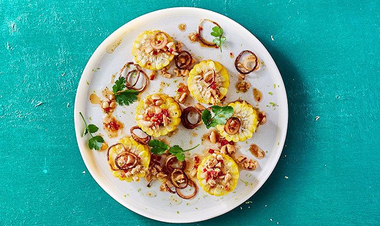 Médaillons de maïs doux et vinaigrette asiatique
